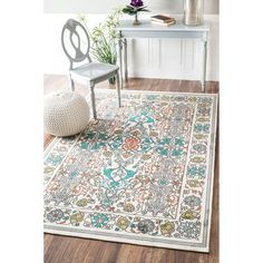 nuLOOM Modern Persian Printed Floral Blue Rug (4' x 6') | Overstock.com Shopping - The Best Deals on 3x5 - 4x6 Rugs