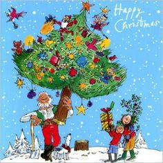 Pack of 10 Quentin Blake Help the Hospices Charity Christmas Cards - Christmas Tree Christmas 2017, Winter Christmas, Christmas Tree, Xmas, Quentin Blake Illustrations, Charity Christmas Cards, Congratulations And Best Wishes, Online Greeting Cards, Backdrops