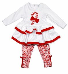 Peaches 'n Cream Girls Red Damask Leggings with White Quilted Candy Cane Ruffle Tunic