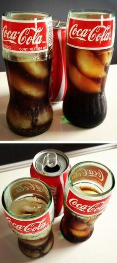 DIY Inspiration - Coca-Cola Coke Glass Bottle Drinking Glass But with dr pepper bottle instead! Coke Bottle Crafts, Glass Bottle Crafts, Bottle Art, Beer Bottle, Diy Deco Rangement, Garrafa Diy, Bottle Cutting, Bottles And Jars, Glass Coke Bottles