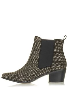 Leather booties with tiny studs