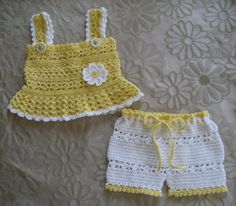 PURCHASED pattern - CROCHET -Daisy Tank and Shorts Set Baby Girl PDF ~ easy/intermediate levels ~ fits sizes mos. ~ she also has a headband and sandals pattern that match the top and shorts - so darn cute! Baby Girl Crochet, Crochet Bebe, Crochet Baby Clothes, Crochet For Kids, Knit Crochet, Crochet Daisy, Baby Patterns, Crochet Patterns, Short Bebe
