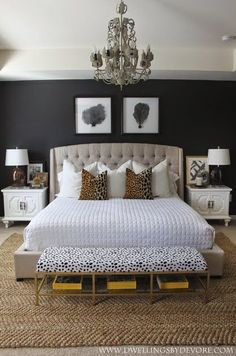 stunning bedroom with black walls, leopard accents, gold, black and white! love this for a master bedroom Glam Master Bedroom, Master Bedroom Design, Dream Bedroom, Home Bedroom, Bedroom Ideas, Master Bedrooms, Bedroom Black, Bedroom Furniture, Modern Bedroom