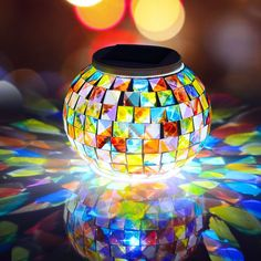 Senbowe™ Solar Powered Mosaic Glass Color Changing Table Lamp/ LED Lights, Rechargeable/Waterproof Crystal Glass Solar Night Light for Indoor,Outdoor Decoration and Festival Gift *** Find out more about the great product at the image link.