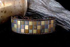 Brown Leather Wrap Bracelet with Metallic Tila Beads.so chic Beaded Wrap Bracelets, Beaded Jewelry, Jewelry Bracelets, Handmade Jewelry, Crochet Bracelet, Pandora Bracelets, Bracelet Making, Jewelry Making, Super Duo