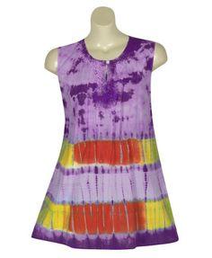 Plus Size Crochet Tie Dye Top –Size: 1x Color: Purple