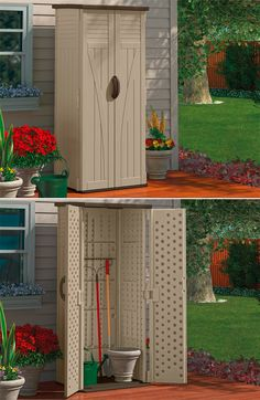 With 22 cubic feet of spacious storage, this vertical shed is essential all year round. PIN IT to WIN IT! Outdoor Spaces, Outdoor Living, Outdoor Decor, Suncast Sheds, Garden Storage Shed, Storage Sheds, Roof Structure, Garden Accessories, Outdoor Storage