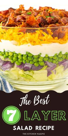 We all love a good Caesar salad or garden salad but sometimes you need to mix things up in a retro way! This classic 7 layer salad is the perfect way to do so – you can customize and alter it however you like, allowing you to make it your own. 7 Layer Salad, Supper Recipes, Brunch Recipes, Salad Ingredients, Main Dish Salads, Salad Recipes, Magpie, Cooking Recipes, Easy Recipes