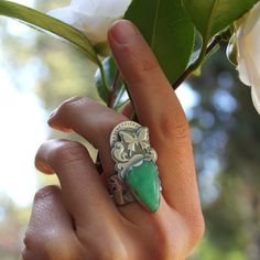 Metamorphosis Ring (sterling silver and a perfectly chrysalis shaped cut of chrysoprase) - UmberDove