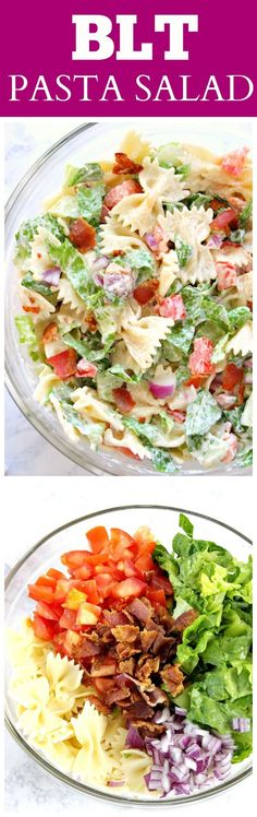 Lower Excess Fat Rooster Recipes That Basically Prime Blt Pasta Salad Recipe - Delicious Summer Pasta Salad Idea Bacon, Lettuce And Tomatoes With Farfalle Pasta And Creamy Dressing. Blt Pasta Salads, Summer Pasta Salad, Pasta Salad Recipes, Summer Salads, Blt Salad, Bacon Salad, Shrimp Salad, Healthy Summer, Macaroni Salads