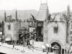 Old photo of Graumans Chinese Theater, Hollywood Blvd, 1929 vintage Los Angeles, California