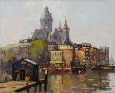 Jan Korthals, Sint Nicolaaskerk met Scheierstoren te Amsterdam, olieverf op doek