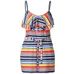 Multi Stripe Ruffle Playsuit ($11) ❤ liked on Polyvore featuring jumpsuits, rompers, dresses, playsuits, shorts, vestidos, people tree, ruffle romper, striped rompers and ruffled rompers