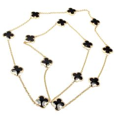 Van Cleef & Arpels Fourteen-Motif Black Onyx Pure Alhambra Yellow Gold Necklace