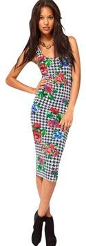 Multi-Color Body-conscious In Dogtooth And Floral Maxi Dress By ASOS $51