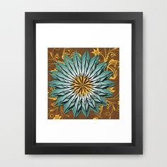 Abstract Teal and Yellow Framed Art Print.