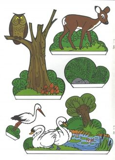 Woodland animals to print and cut Diy Paper, Paper Art, Paper Crafts, Forest Animals, Woodland Animals, Cuento Pop Up, Toy Theatre, Up Book, Paper Houses