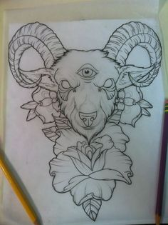 goat head tattoo designs - this, but with a sheep's head