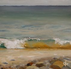 """Daily Paintworks - """"Waves on the Rocky Shore"""" Gary Westlake"""