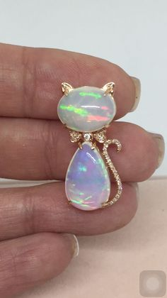 18K Rose Gold Natural 9 65 tcw White Opal vs G Diamond Kitten Pendant Necklace | eBay #opalsaustralia