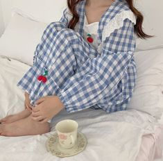 Cotton gingham plaid lolita style pajama with ruffled details, cherry knitted appliques and cotton eyelet lace. Sizing Shirt length 50 cm Pants length 93 cm Shoulder 43 cm Sleeve 53 cm Hips 100 cm Waist cm - Online Store Powered by Storenvy Kids Frocks Design, Cute Sleepwear, Fashion Illustration Dresses, Frock Design, Cotton Pyjamas, Kawaii, Lolita Fashion, Pajama Set, Gingham