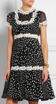 Black Lace-Trimmed Polka Dot Georgette Dress