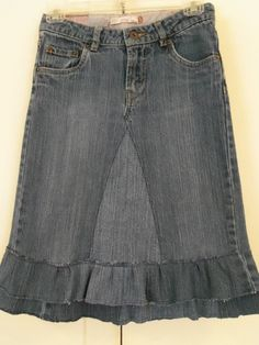 Childrens Size 12 up-cycled jean skirt $17