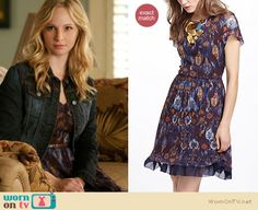 Caroline's purple floral dress at denim jacket on The Vampire Diaries.  Outfit details: http://wornontv.net/13618/