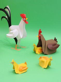 Galo, galinha e pintinhos feitos em papel