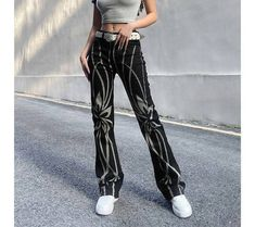 Denim Pants, Trouser Jeans, Denim Flares, Top Streetwear, Floral Stripe, Grunge Fashion, Straight Leg Pants, Cute Tops, High Waist Jeans