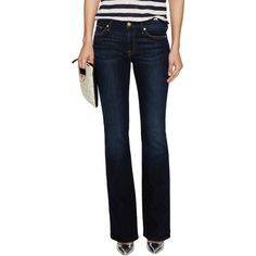 7 for All Mankind Women's Kimmie Bootcut Jean - Blue - Size 24 ($75) ❤ liked on Polyvore featuring jeans, blue, 7 for all mankind jeans, blue ripped jeans, torn jeans, zipper jeans and faded blue jeans
