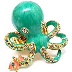 aqua octopus ring
