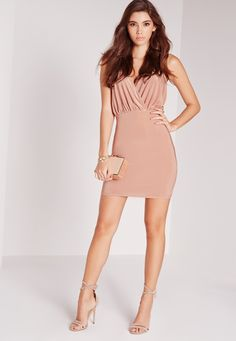 Missguided - Slinky Strappy Plunge Bodycon Dress Pink