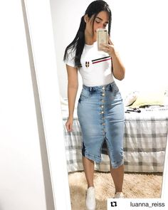 Shop sexy club dresses, jeans, shoes, bodysuits, skirts and more. Boujee Outfits, Denim Skirt Outfits, Modest Outfits, Spring Outfits, Casual Outfits, Fashion Outfits, Modest Wear, Casual Skirts, Skirt And Sneakers