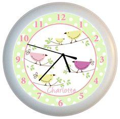 Bird theme - love these colours Bird Nursery, Bird Theme, Unique Wall Clocks, Toy Craft, Playroom, Baby Shower Gifts, Original Artwork, Make It Yourself, Kid Stuff