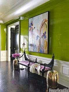 A Park Avenue Apartment Filled with snappy colors and unusual wallcoverings. - Modern Color Palette Ideas - Christina Murphy Colorful Interiors - House Beautiful love green and purple together Home Design, Design Entrée, Design Trends, Design Ideas, Design Hotel, Modern Color Palette, Modern Colors, Park Avenue Apartment, York Apartment