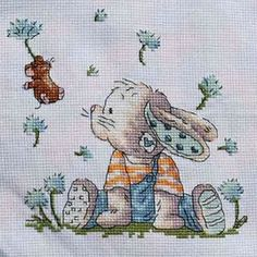 Cross Stitch - Bunny panel for Kids Company - stitched June 2009