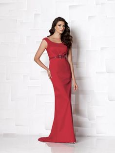 Cameron Blake 113605. Stretch taffeta slim A-line dress with tip-of-the-shoulder neckline, center gathered midriff accented with hand-beaded band, sweep train. Matching shawl included. #timelesstreasure