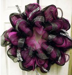 New Zebra Geo Mesh Wreath - Deco Mesh Wreath - Zebra  Wreath  - Door Wreath Hot pink and black with the zebra ribbon
