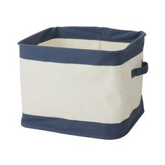 Collapsible Canvas Bin  Navy (31 BRL) ❤ liked on Polyvore featuring home, home decor, small item storage, storage containers, navy blue home decor, collapsible storage bins, navy blue home accessories and canvas storage containers