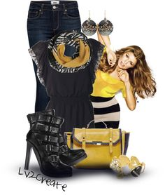 """Black & Yellow"" by lv2create on Polyvore"