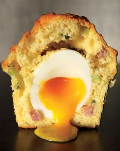 The Rebel Within #Muffin:spiked with green onions,Asiago cheese,sausage,crème fraîche,soft-boiled egg #Food #Mashpotato