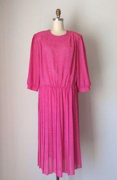Hot Pink polka dot sheer Dress // Vintage 80s plus size petite Blouson Dress // Pink & White polka dot Day Dress on Etsy, $40.00