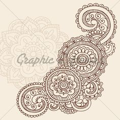 Henna Mehndi Doodles Abstract Floral