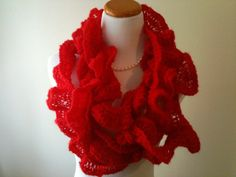 Items similar to Red Lacy Ruffle Knit Scarf in Red - Gift for Her - Romantic Style - Classic - Made to Order on Etsy Red Scarves, Crochet Necklace, Knitting, Trending Outfits, Unique Jewelry, Handmade Gifts, Inspiration, Vintage, Etsy