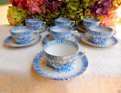 7 Beautiful Vintage Bavarian China Blau Porcelain Cups & Saucers Blue Urns Gold #BavarianChina