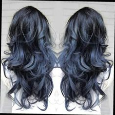 Black with steely blue hair