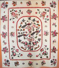 Antique Quilt - A tree-of-life center framed with dogtooth applique