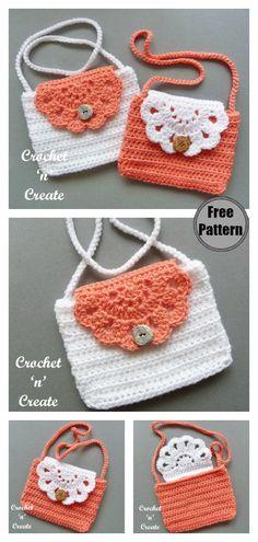 Mini Purse Free Crochet Pattern Source by Purse Patterns Free, Crochet Purse Patterns, Bag Pattern Free, Crochet Purses, Crochet Patterns Amigurumi, Knitting Patterns, Sewing Patterns, Crochet Gifts, Crochet Baby