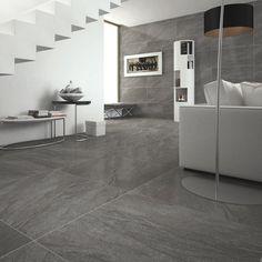 Alicura grey stone effect anti-slip matt wall and floor tile x Large Floor Tiles, Modern Floor Tiles, Grey Floor Tiles, Grey Flooring, Wall And Floor Tiles, Stone Flooring, Gray Floor, Wood Floor, Living Room Decor Lights